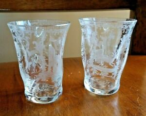 Antique Georgian PAIR Pinched Glass Stag & Castle Engraved Tumbler Wheel Cut