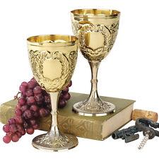 Set of 2: 8oz Embossed Brass Renaissance Medieval Knights Wine Chalice Goblets
