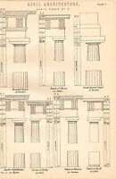 1868 Estampado ~ Civil Arquitectura ~ Doric Orden Hexastyle Apolo Theseus