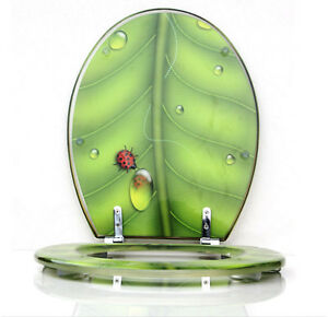 Top Quality Green Leaf Thicken Bathroom Toilet Seat Safety Resin Toilet Seat