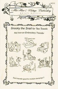 M219 Snooky the Snail for the Kitchen DOW Towels Embroidery hot iron transfer