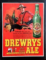 Vintage 1948 Drewrys Old Stock Ale Beer Ad Canadian Mountie On 11x14 Canvas