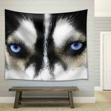 wall26 - Close Up on Blue Eyes of a Dog - Fabric Wall Tapestry - 51x60 inches