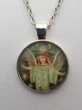 "ANGEL PICTURE PENDANT 2 IN SILVER 16 - 22"" CHOOSE CHAIN SIZE IN GIFT BAG."