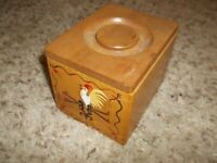 Vintage JAPAN Wooden Rooster Recipe Box Canister 4 1/2 x 5 1/2""