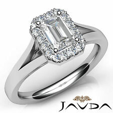 Emerald Shape Diamond Engagement Halo Pave Ring GIA H VS2 18k White Gold 0.92Ct