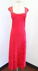 Vtg Victorias Secret Red Paisley Print Embossed Mesh Lace Nightgown Gown Size M