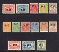 AUSTRALIA: Scott #O1-O14 OFFICIAL ISSUES Complete Mint HINGED, Cat $1025.00