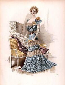 Edwardian 1900 ladies fashion women clothing art print 10 x 8