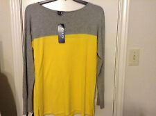 New Chaps XL cotton modal gray and yellow sweater