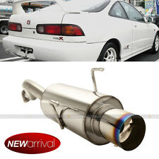 Fit 94-01 Integra DC2 2DR Bolt On Axle Back Exhaust Muffler Blue Burn Tip