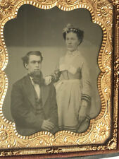 Ambrotype of man & woman married couple? Thermoplastic case sixth plate, beauty!