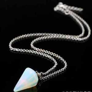 Natural white prismatic opal gemstone necklace chain Seven Chakras