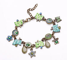 LADIES GREEN /BLUE / BRONZE SUMMER FRUITS STARS CHARM BRACELET UNQIUE (ZX31)