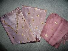 Vintage Silk Satin Lilac & Gold Unstitched Salwar Kameez Suit Fabric Indian