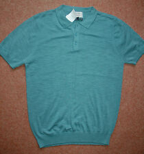 BNWT Mens Small-M Blue/Green 100% Cotton Short Sleeve T-shirt Button down Collar