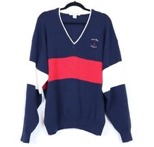 Izod Club Men's Sweater X-Large Walter Hagen Traditional Blue Red Knit Pullover