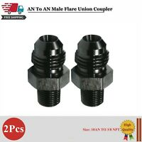 2Pcs Black 10AN to 3/8 NPT Adapter Straight Pipe Thread to 10 AN Flare Fitting