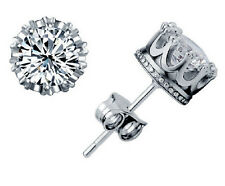 Women Men 925 Solid Silver Plated Cubic Zirconia Round Stud Earrings Unisex Gift
