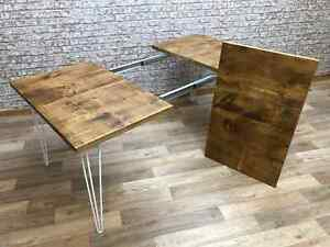 Extendable Dining Table Hairpin Leg Dining Table Rustic  Dining Table Kitchen