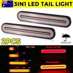 2Pcs Halo Neon LED Tail Trailer Lights Truck Flowing Turn Signal Rear Stop Brake
