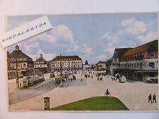 AK KARLRUHE, Bahnhofsplatz  gelaufen mit Nothilfemarke 431/1929 u. Werbestempel