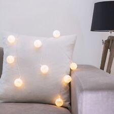 10er LED Cotton Ball Lichterkette Batterie Deko Beleuchtung Kugel Lichter Creme