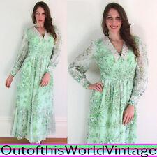Vtg 70s VICTORIAN PRAIRIE DRESS green maxi FLORAL LACE gunne sax style FESTIVAL