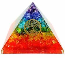 Extra Large 75MM Multi 7 Chakra Natural Crystal Tree of Life Orgone Pyramid
