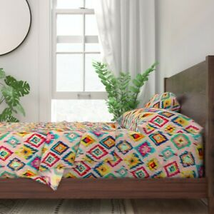 Rainbow Ikat Painted Geometric Bohemian 100% Cotton Sateen Sheet Set by Roostery