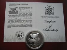 Zambia 1986 10 Kwacha Silver Proof Coin WWF COA Card - White Winged Flufftail