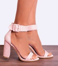BABY LIGHT PINK ANKLE STRAP PEEP TOES STRAPPY SANDALS HIGH HEELS SHOES SIZE 3-8