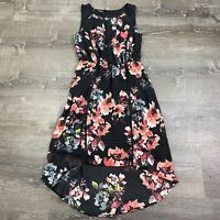 Maurice's Womans Hi-Low Dress Sleeveless Multicolor Black Floral Lace Size S