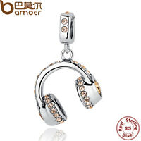 Bamoer Solid S925 Sterling Silver Charms headphones With Crystal Fit Bracelets