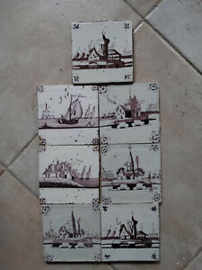 7 Delft manganese tiles, landscape tiles, circa 1750.