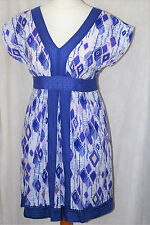 MANTARAY DEBENHAMS Size 12 Ladies Summer Cotton Dress Tunic Blue White *CLEANED