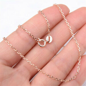 """18K Rose Gold Filled Hypo-Allergenic 17.5"""" """"O"""" 1mm Curb Chain Necklace H1162"""