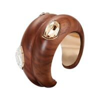 ATELIER SWAROVSKI by FIONA KOTUR bangle bracelet cuff brown wood and crystals