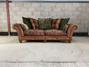Tetrad Eastwood Midi Sofa in Buffalo Oxblood hide with Kilim Salmon fabric