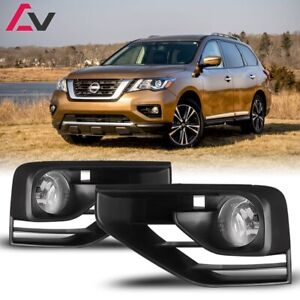 17-19 For Nissan Pathfinder Clear Lens Pair Fog Light Lamp+Wiring+Switch Kit