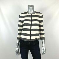 Ann Taylor LOFT Petites 6P Blazer Jacket Striped Black White Collarless NEW