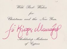CYPRUS 1960-1974 President Archbishop Makarios autograph, Signed Greeting Card