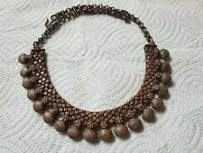 Tribal Choker Heavy Necklace Chain Antique Vintage India Rajasthan Copper Ethnic