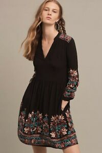 Anthropologie Floreat Avery Embroidered Dress Sz XS Black Boho