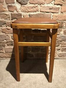 Vintage 1960s Retro Kitchen Wooden Stool Mid Century Brown Vinyl Covered Seat GC