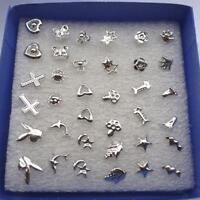 48PCS Wholesale lots Bulk Unisex Random Silver Plated Stud Earrings Jewelry Hot