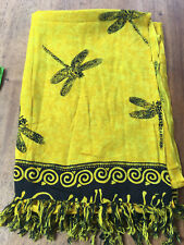 Dragonfly Yellow/Black Sarong - Beach/Pool/Summer Cover Up/Skirt/Dress/Sunbathe