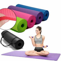 "Hot Extra Thick Exercise Yoga Mat Pilates Gym Fitness NBR 72"" x 24"" 10MM w/Strap"
