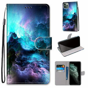Colorful Clouds Mystic Flip Wallet Fashion Women 3D Case Cover For Various Phone