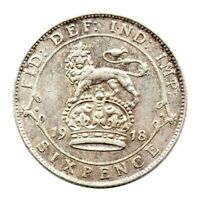 KM# 815 - Sixpence - George V - Great Britain 1918 (EF)